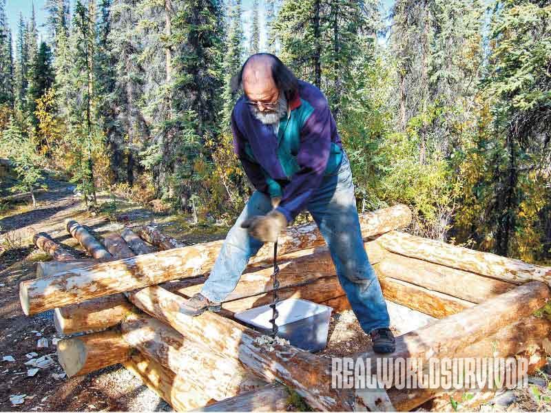 Building a Log Cabin Process, Log Cabin, cutting log