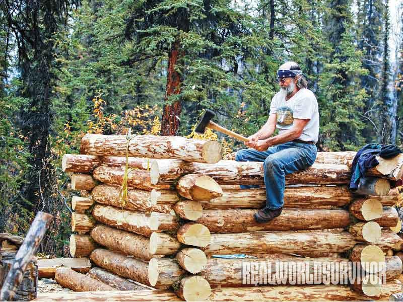 Log Building Process, Log Cabin, secure a log