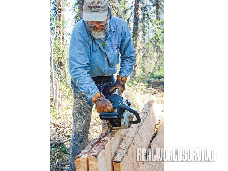 Building a Log Cabin Process, Log Cabin, cutting plank
