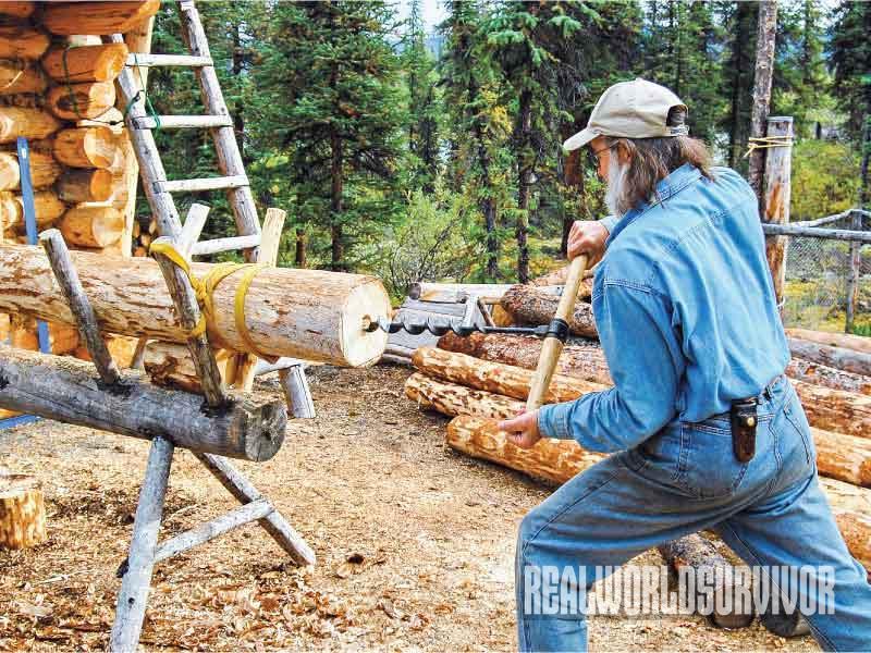 Building a Log Cabin Process, Log Cabin, drill dowel hole