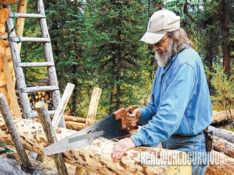 Log Building Process, Log Cabin, cut shallow notch