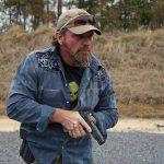 Pat McNamara Carolina Arms Group Blaze Ops 1911 Pistol lowered