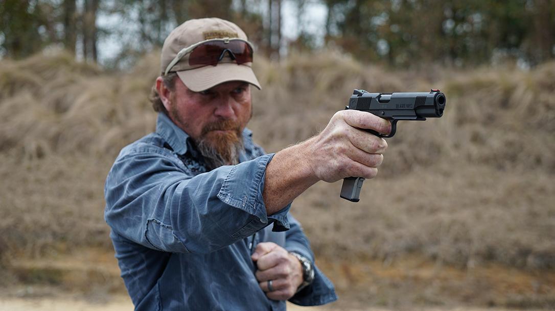 Pat McNamara Carolina Arms Group Blaze Ops 1911 Pistol single handed