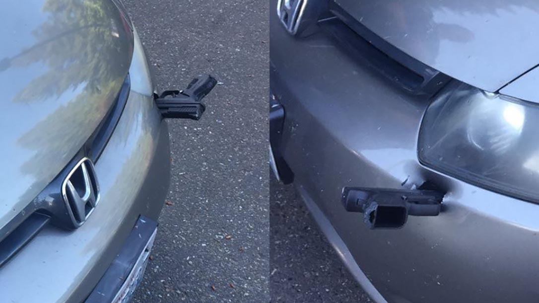 gun car bumper, handgun lodges into bumper