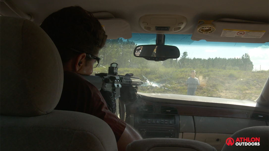 Shooting Through Car Windshield, Shooting through glass, carbine training