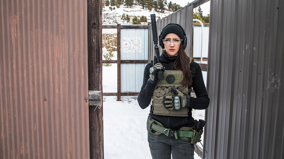 High Bar Homestead Wyoming, Lauren Young, Sig sauer pistol, suppressor