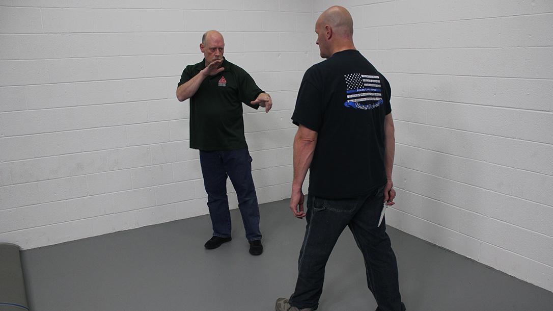 Pistol Whip Technique, self-defense, Step 1