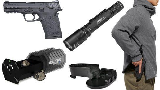 Ballistic Gear Grab, SureFire EDCL2-T flashlight, Smith & Wesson M&P 380 Shield EZ pistol, concealed carry