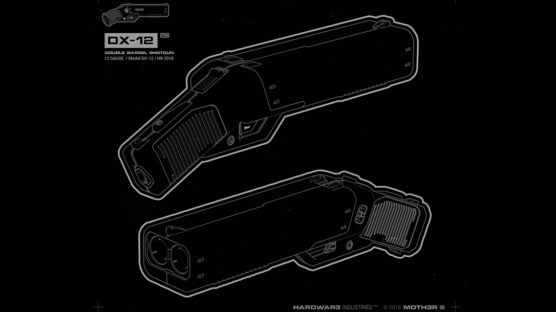 MOTH3R 12-Gauge DX-12 Double Barrel Shotgun Pistol, Ivan Santic, blueprint