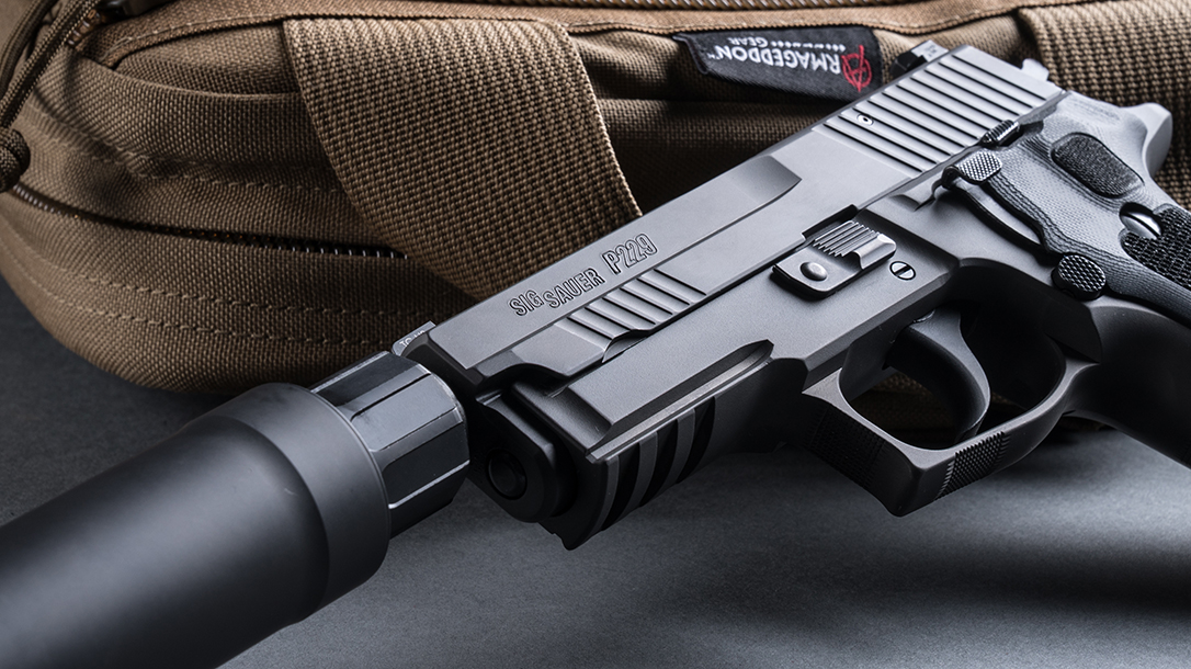 SIG P229 Legion Pistol, SRD9 Suppressor, pistol review, logo
