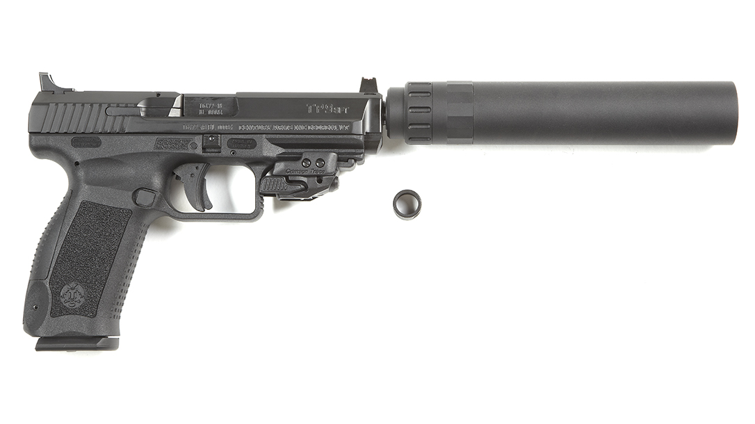Canik TP9SFT pistol review, suppressor