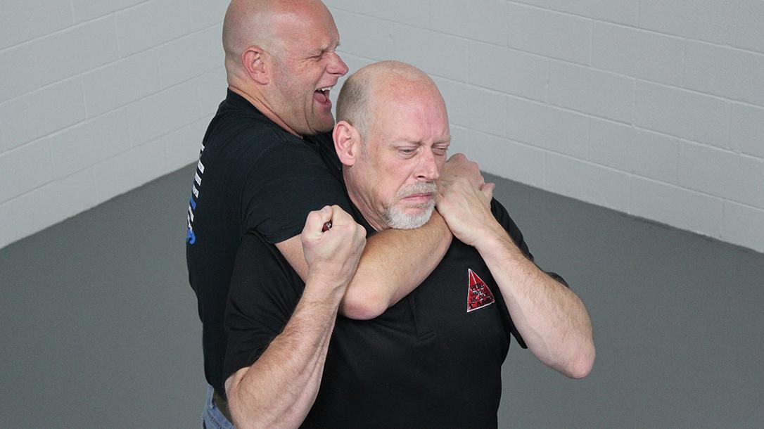 How to Escape a Chokehold, folding knife, step four
