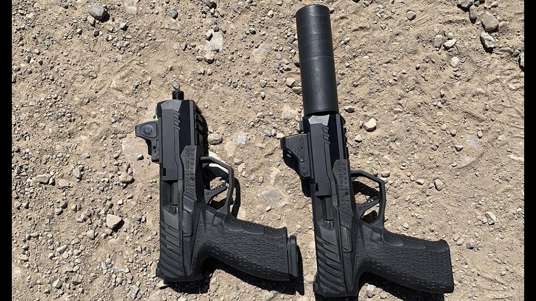SilencerCo Non-NFA Maxim 9 pistol, side by side
