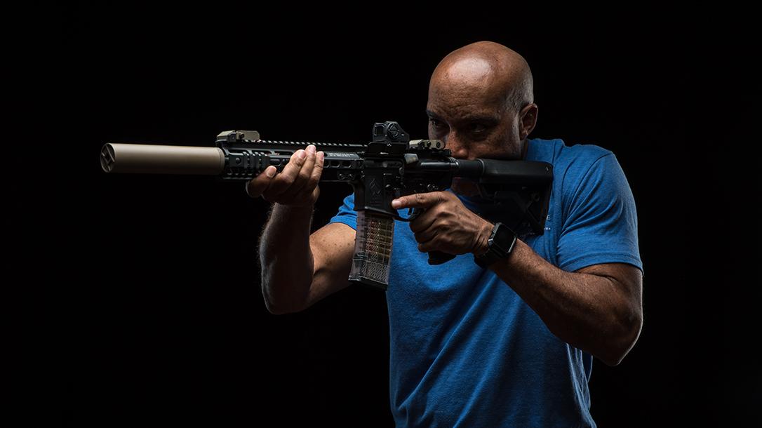 left-handed long gun shooting, left eye