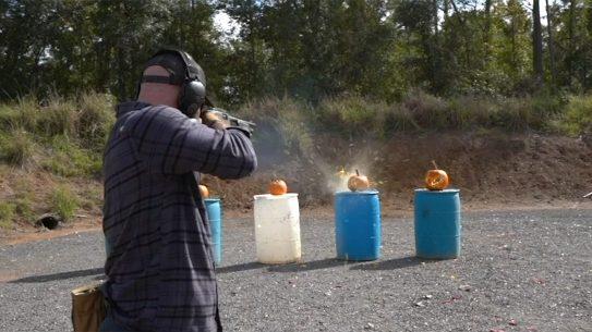 FN P12 Shotgun, FN P-12, shooting pumpkins, Halloween