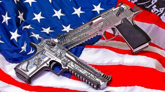 Magnum Research Desert Eagle 50 Cal Pistols, custom challenge, American flag