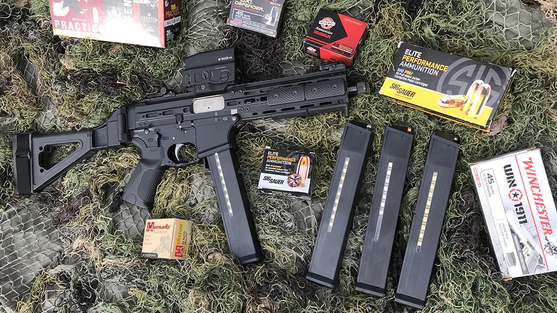 LWRC SMG 45 pistol review, LWRCI SMG-45, ammo