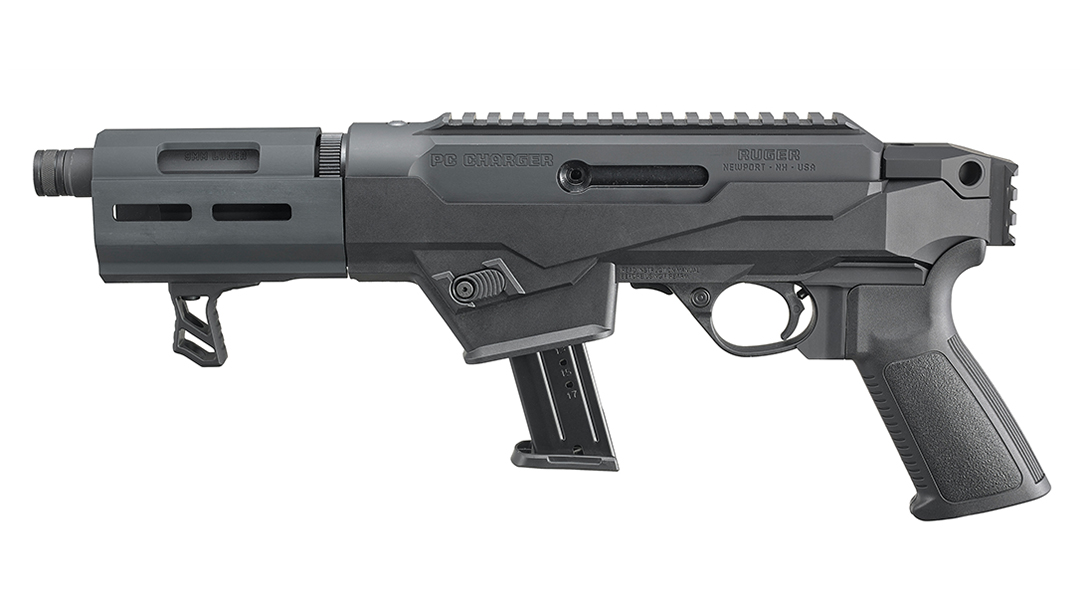 pistol caliber, 9mm, left, glock magazine, pistol grip