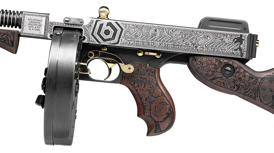 Custom Auto-Ordnance Trump Tommy Gun, Outlaw Ordnance, ballistic logo