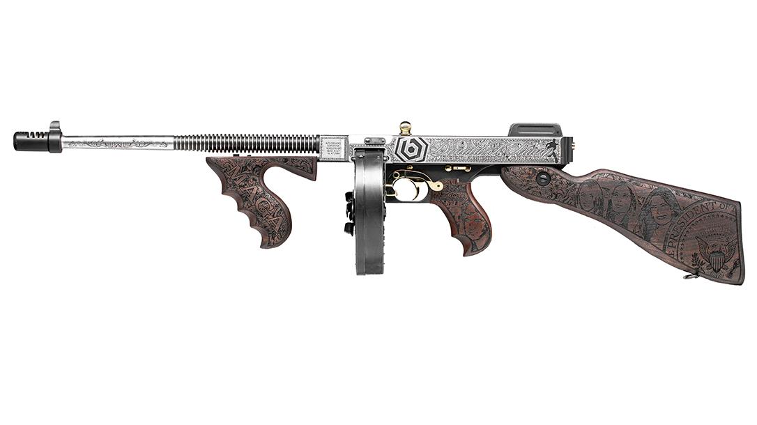 Custom Auto-Ordnance Trump Tommy Gun, Outlaw Ordnance, left