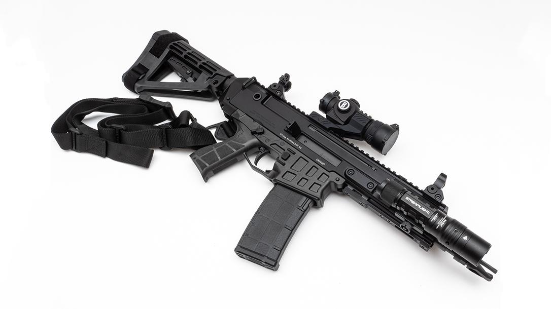 Pistol, Optics, SureFire light, SB Tactical Brace