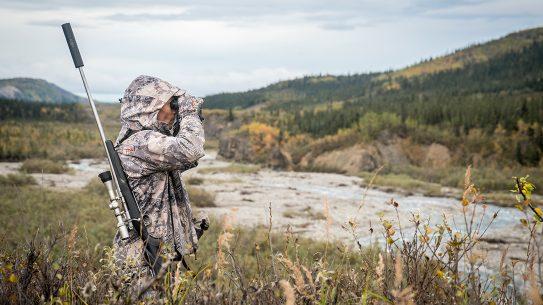 field, binoculars, silencer, rifle, animals