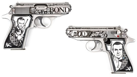 Walther PPK James Bond custom pistol, engraved