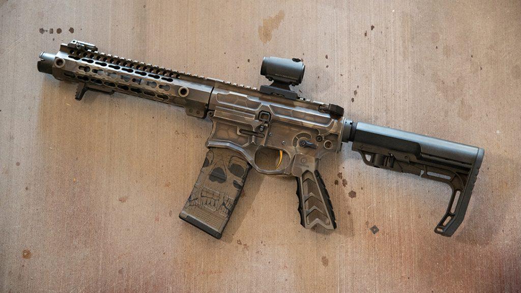Custom Cerakote, skull, pistol