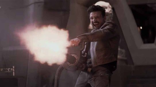 Boss Level Movie review, Frank Grillo minigun