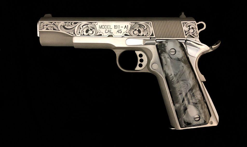 Melissa McMinn Studios, 1911 engraved, firearm engraver