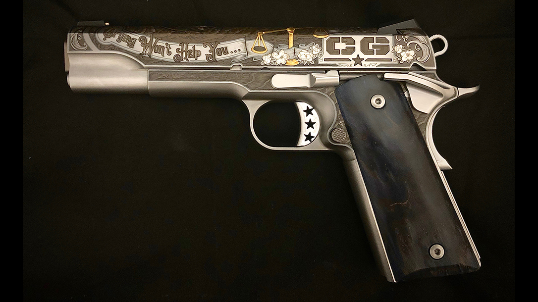 Gun Engraving, cabot arms 1911, lead
