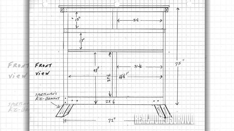 Front view blueprint of the buck tower.