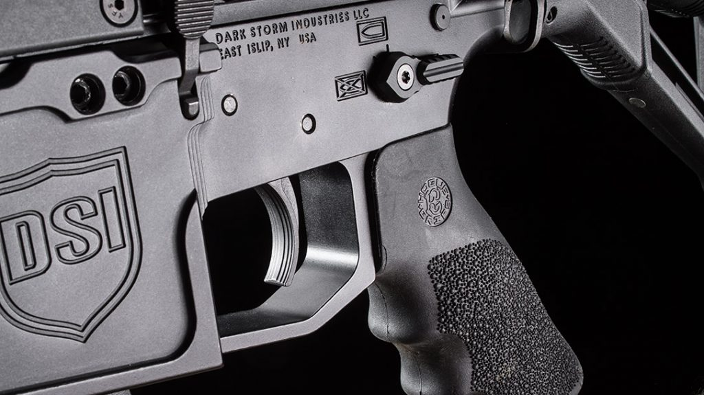 The textured trigger broke consistently at just over 5 pounds. The DS-9 pistol-caliber carbine also includes a comfy Hogue pistol grip.