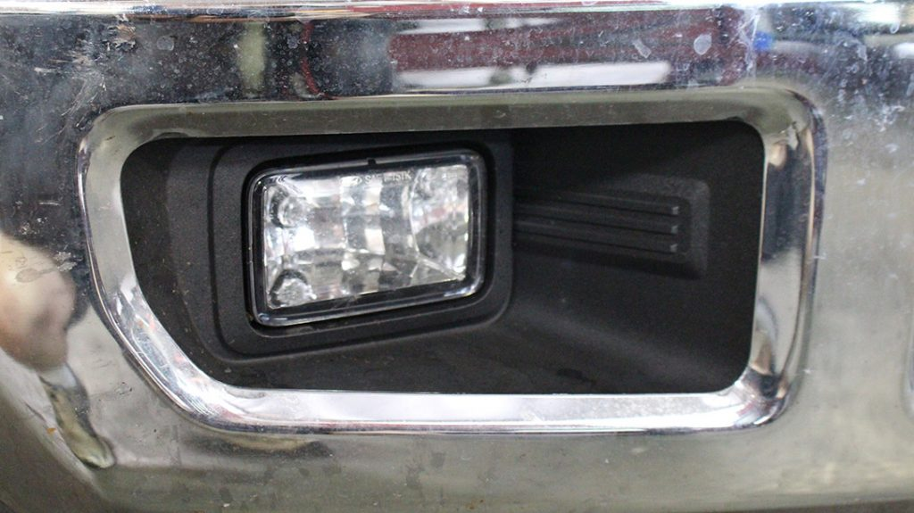 The flaccid stock fog lamps were removed to make way for two Squadron Pro's.