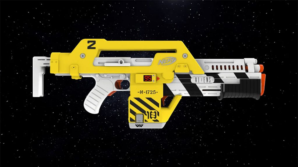The Nerf LMTD Aliens M41-A Blaster is ready for action