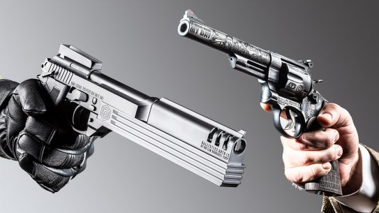 The showdown between Dirty Harry versus Robocop is beautifully illustrated in these two custom pistols from Outlaw Ordnance.