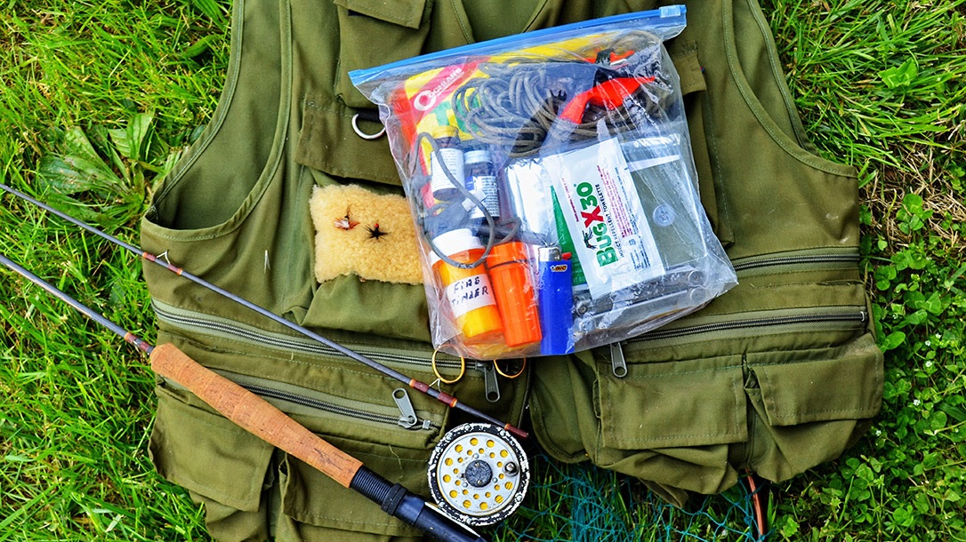 The 2-pound survival kit fits easily into a fishing vest, hunting coat or day pack.