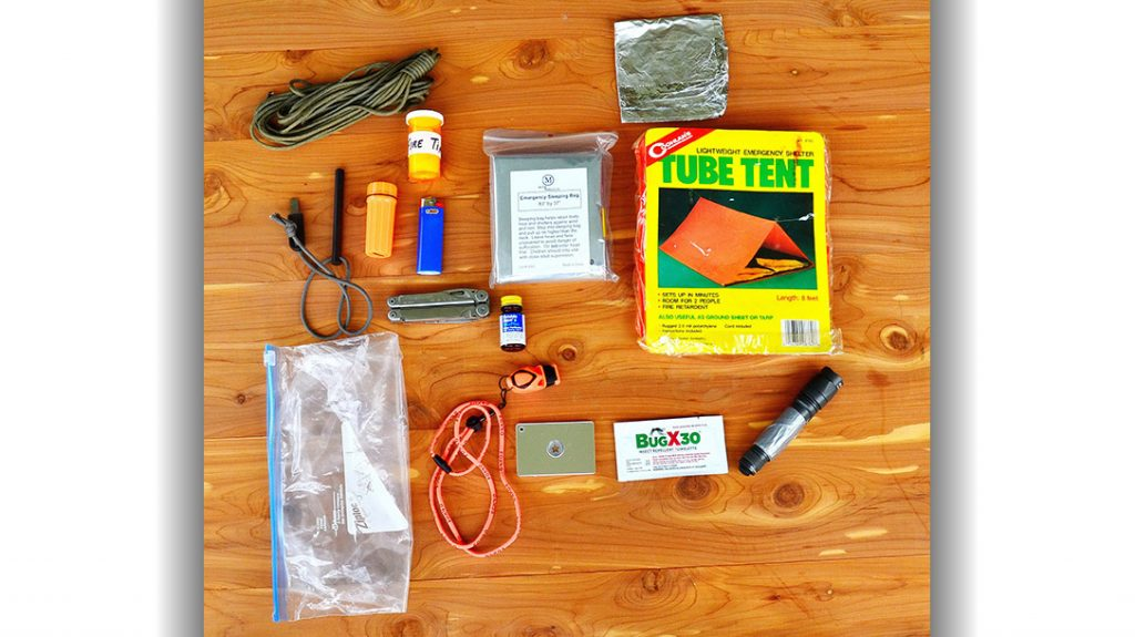 The items in a 2-pound survival kit.