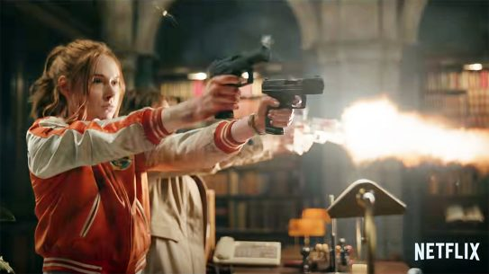 Gunpowder Milkshake features lot of awesome guns and fighting.