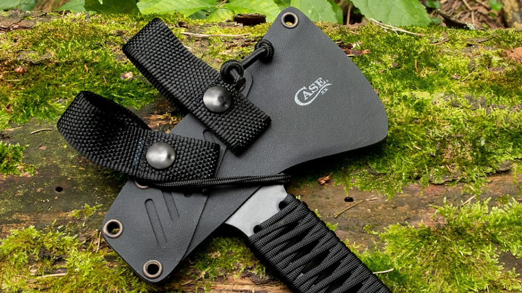 The sheath design for the Case Winkler Pack Axe is very unique and utilizes a shock cord for retention.