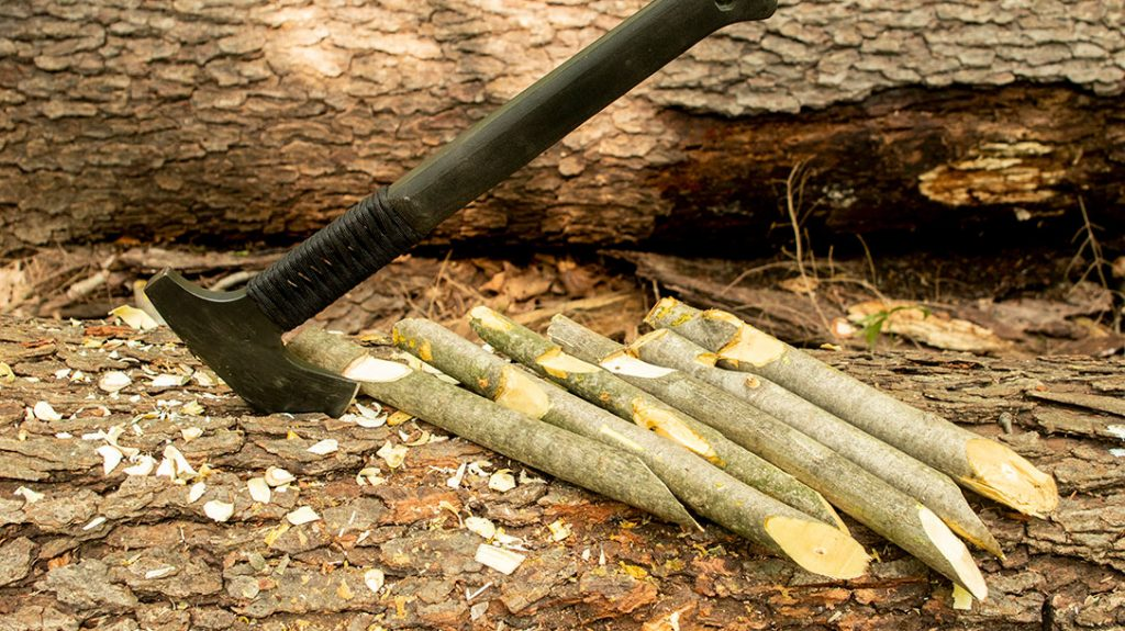 The Case Winkler Pack Axe did great at finer carving/whittling chores like carving out the notches for my tarp stakes.