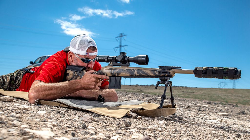 Charlie Melton lays down behind the Gunwerks for a couple of shots. He remarked that he actually preferred a left-handed action as a right-handed shooter.