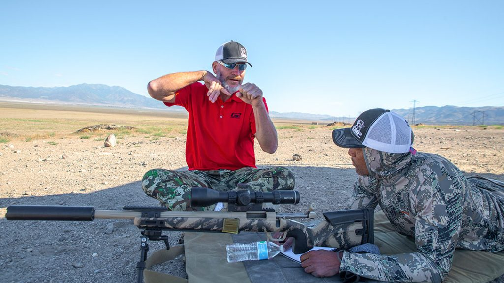 Charlie has trained warrior-elite greats like Marcus Luttrell and Chris Kyle. Here he works with the author on the finer points of long-distance shooting.