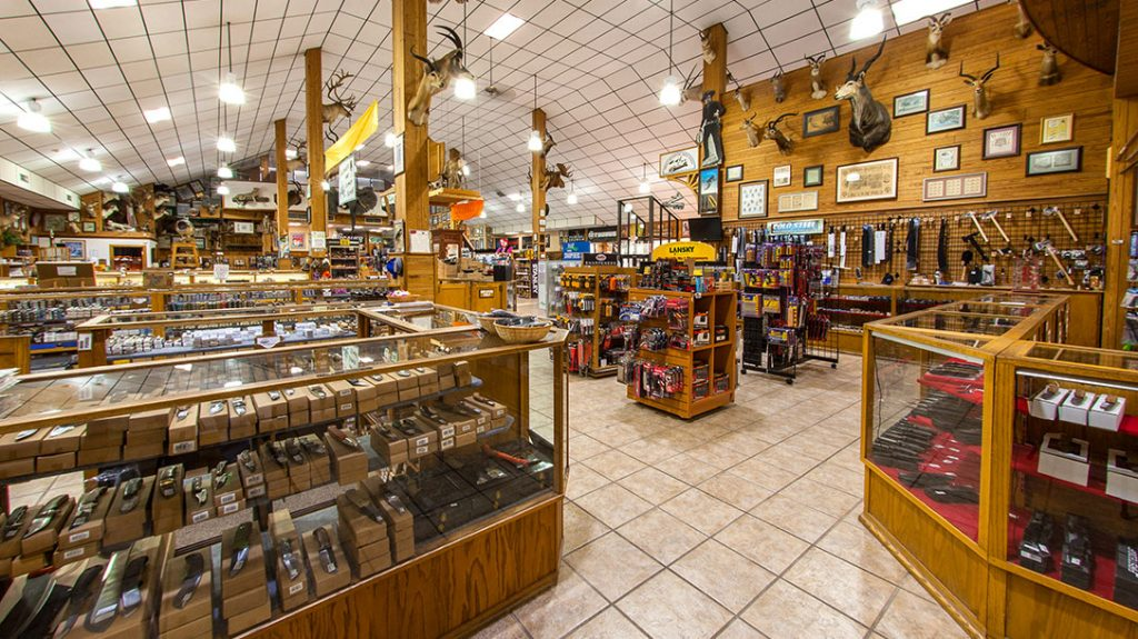 A view of the expansive Smoky Mountain Knife Works showroom.